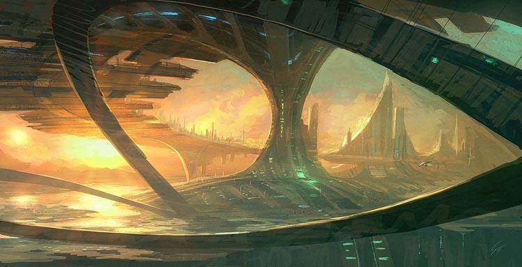 bridge city digital painting