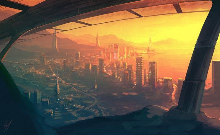 future city digital painting