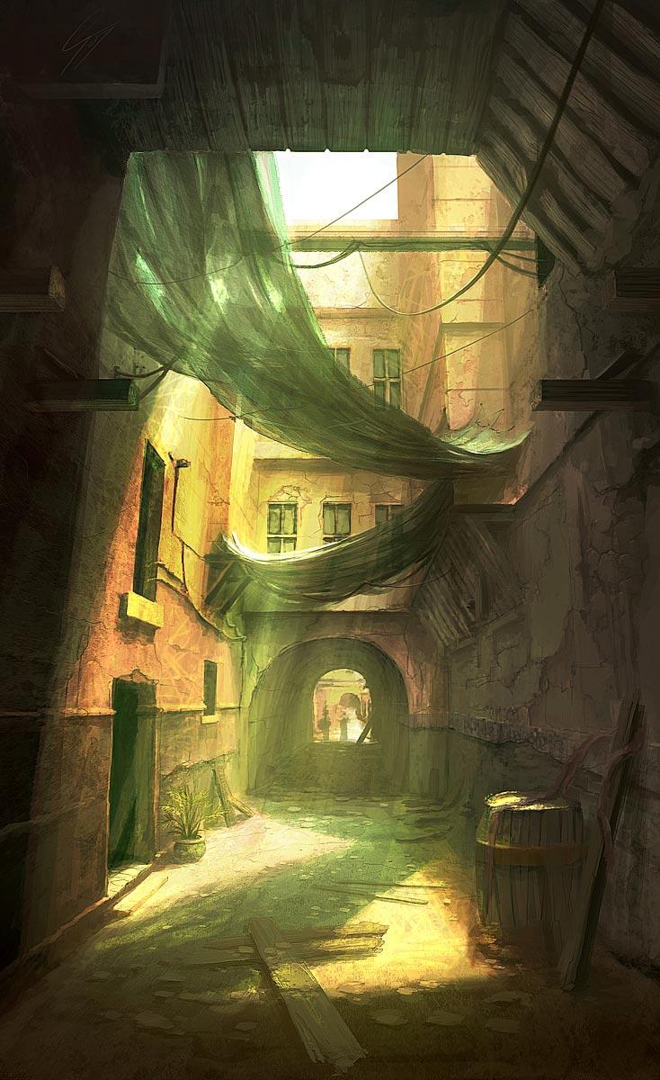 old street digital painting