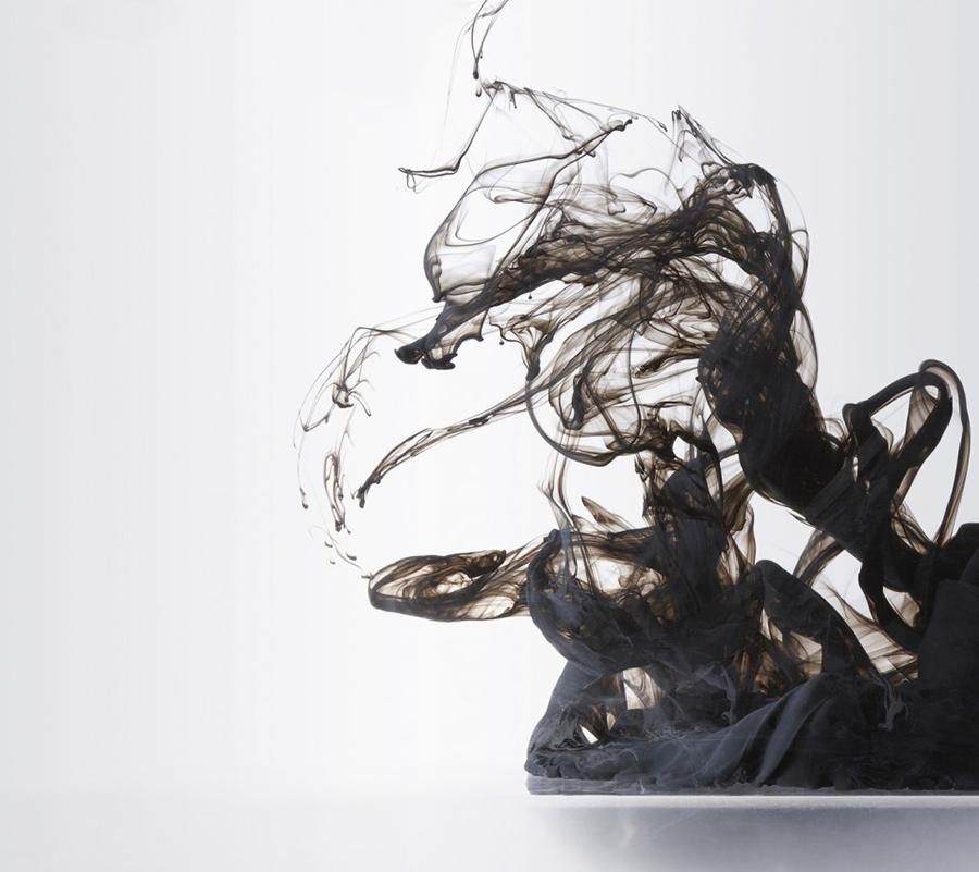 black smoke fluid abstract art