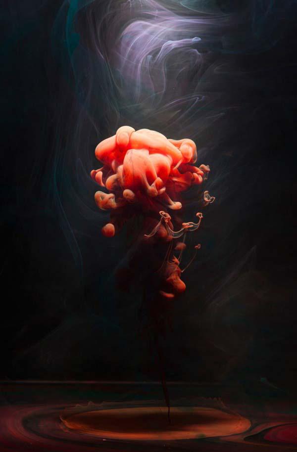 high definition orange smoke fluid abstract art