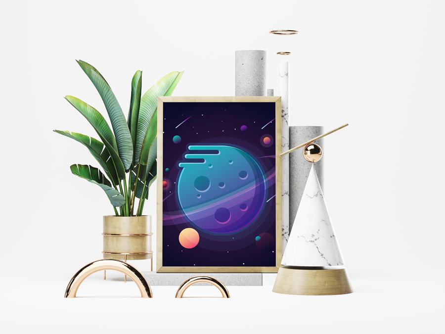 vector planets illustration print