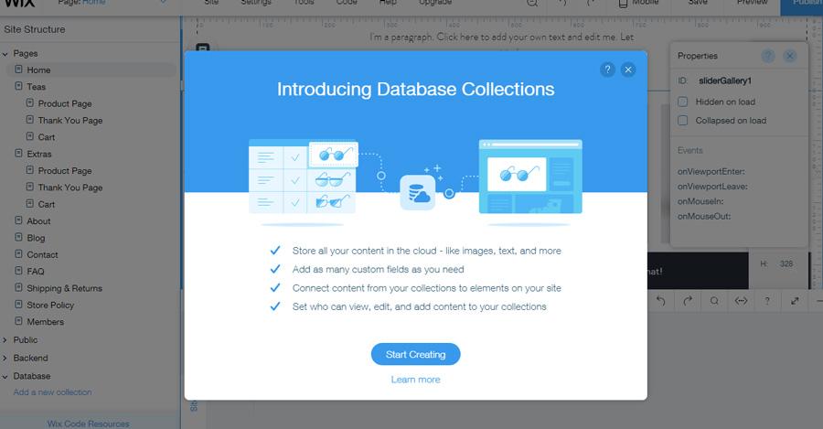 create website database